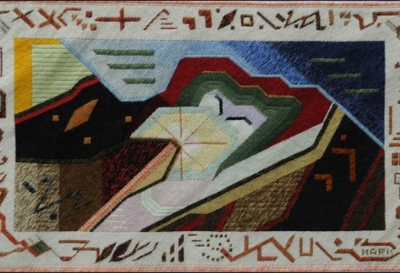 Mark Olshansky abstract needlepoint Chewing His Cud