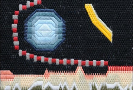 Mark Olshansky Abstract Needlepoint Nebraska Skyline