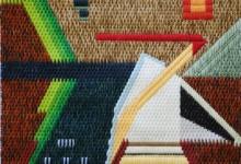 Mark Olshansky abstract needlepoint Prairie Hut