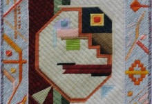 Mark Olshansky abstract needlepoint He Went Thataway