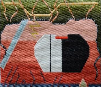 Mark Olshansky abstract needlepoint Neanderthal Café