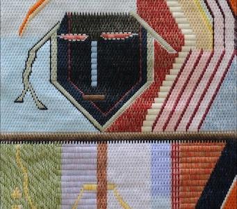 Mark Olshansky abstract needlepoint The Mendacious Court Accountant for Henry VIII