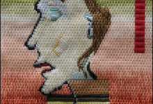 Mark Olshansky abstract needlepoint Grandma on a Headestal