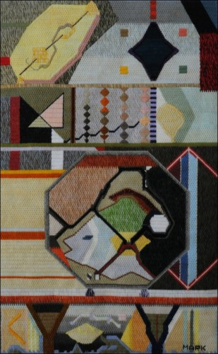 Mark Olshansky abstract needlepoint Four Lemon Life